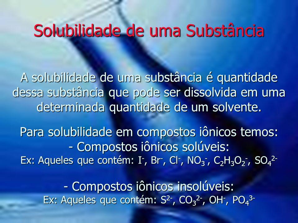 A solubilidade de uma substância é quantidade dessa substância que pode ser dissolvida em uma determinada quantidade de um solvente. Para solubilidade