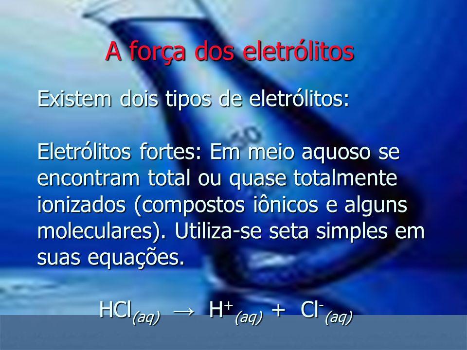 Existem dois tipos de eletrólitos: Eletrólitos fortes: Em meio aquoso se encontram total ou quase totalmente ionizados (compostos iônicos e alguns mol