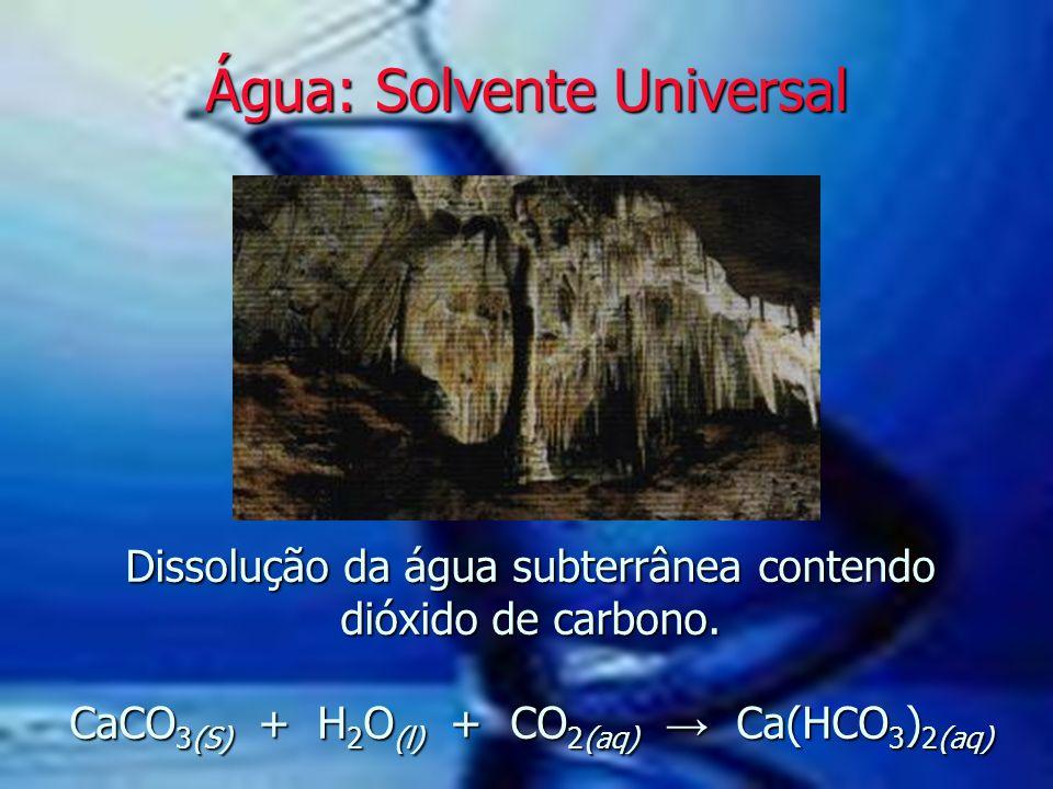 Dissolução da água subterrânea contendo dióxido de carbono. CaCO 3(S) + H 2 O (l) + CO 2(aq) → Ca(HCO 3 ) 2(aq) Água: Solvente Universal