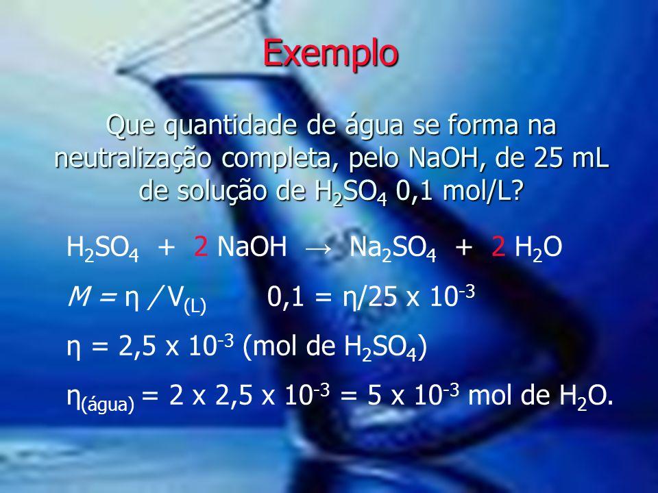 Que quantidade de água se forma na neutralização completa, pelo NaOH, de 25 mL de solução de H 2 SO 4 0,1 mol/L? Exemplo H 2 SO 4 + 2 NaOH → Na 2 SO 4