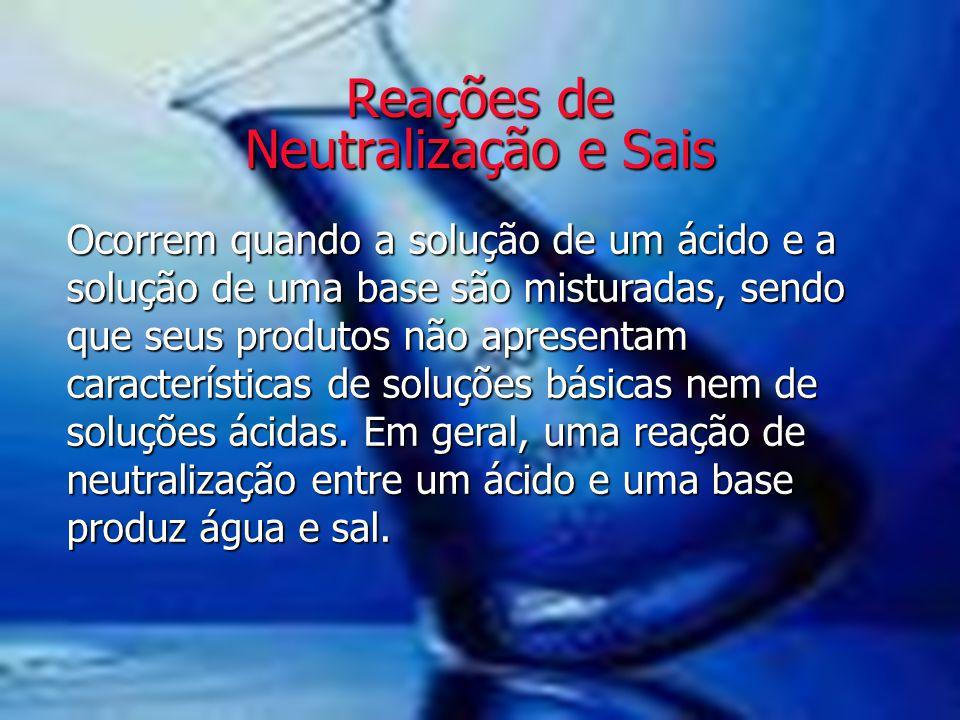 Reações de Neutralização e Sais Ocorrem quando a solução de um ácido e a solução de uma base são misturadas, sendo que seus produtos não apresentam ca