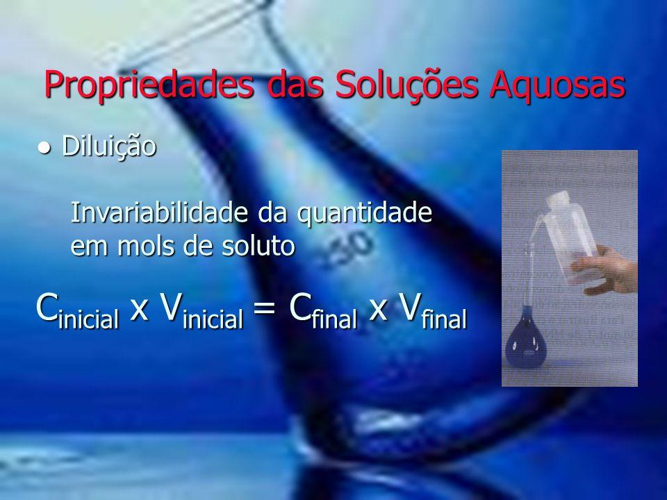 Propriedades das Soluções Aquosas Propriedades das Soluções Aquosas ● Diluição Invariabilidade da quantidade em mols de soluto C inicial x V inicial =