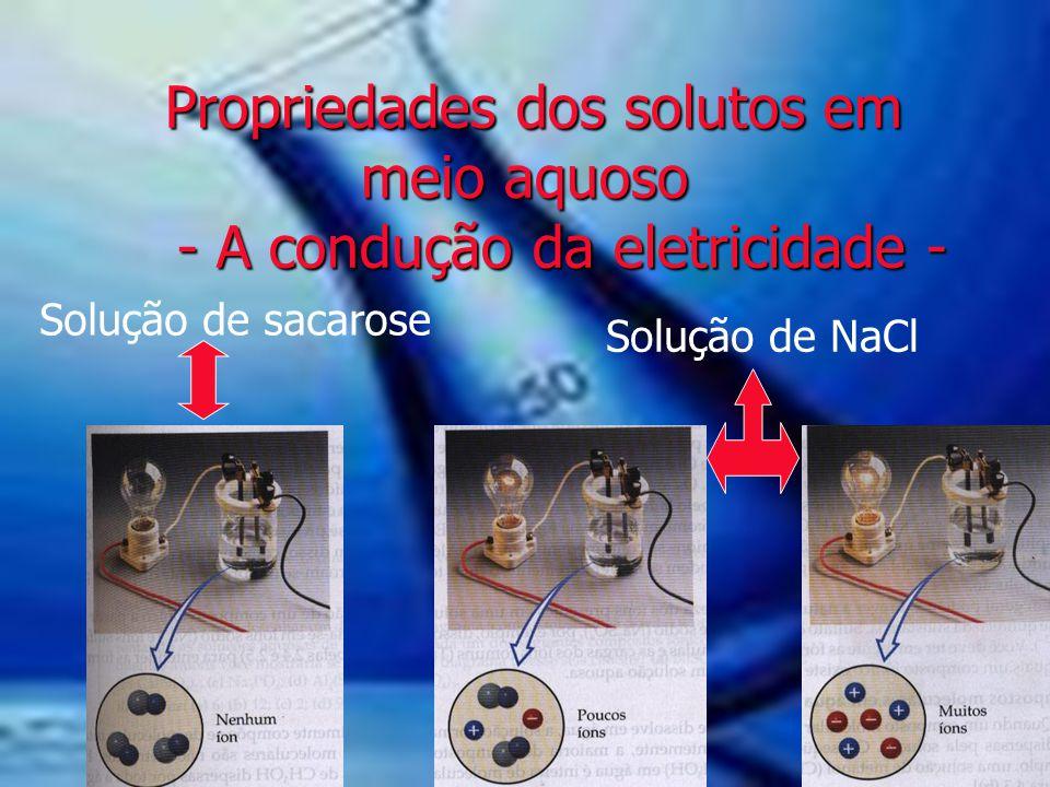 Propriedades dos solutos em meio aquoso - A condução da eletricidade - Propriedades dos solutos em meio aquoso - A condução da eletricidade - Solução