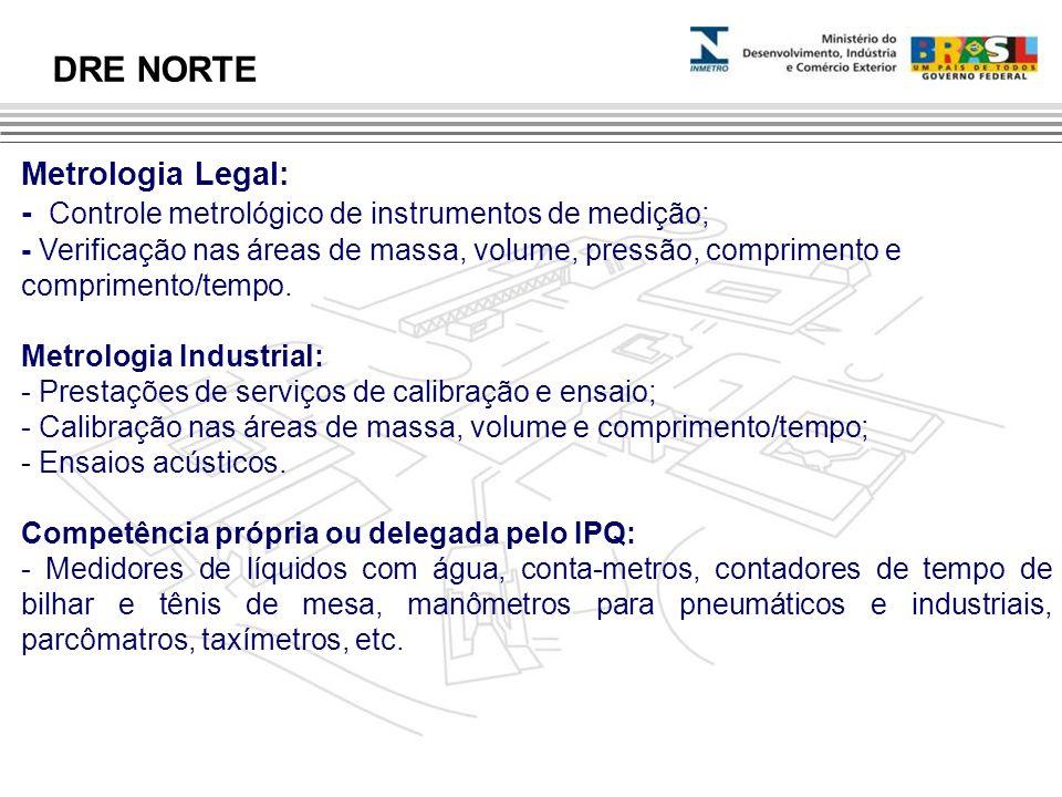 Metrologia Legal: - Controle metrológico de instrumentos de medição; - Verificação nas áreas de massa, volume, pressão, comprimento e comprimento/temp