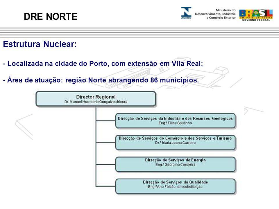 Estrutura Nuclear: - Localizada na cidade do Porto, com extensão em Vila Real; - Área de atuação: região Norte abrangendo 86 municípios. DRE NORTE Est