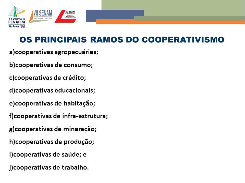 OS PRINCIPAIS RAMOS DO COOPERATIVISMO a)cooperativas agropecuárias; b)cooperativas de consumo; c)cooperativas de crédito; d)cooperativas educacionais; e)cooperativas de habitação; f)cooperativas de infra-estrutura; g)cooperativas de mineração; h)cooperativas de produção; i)cooperativas de saúde; e j)cooperativas de trabalho.