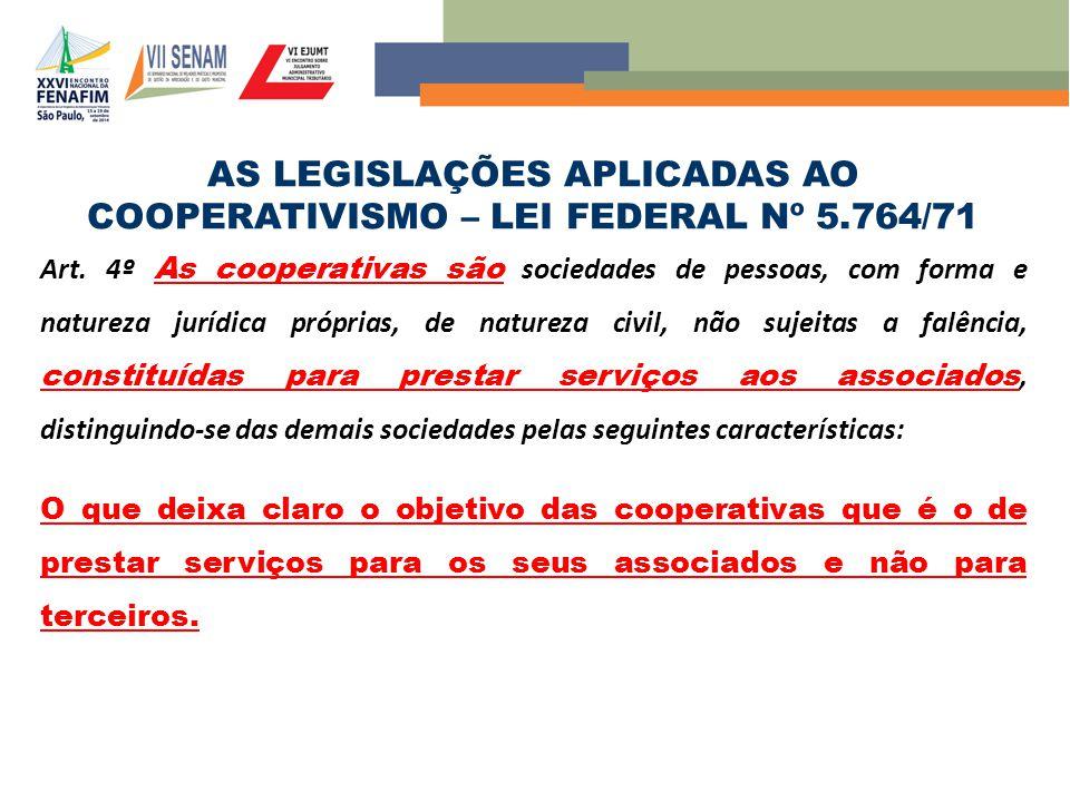 AS LEGISLAÇÕES APLICADAS AO COOPERATIVISMO – LEI FEDERAL Nº 5.764/71 Art. 4º As cooperativas são sociedades de pessoas, com forma e natureza jurídica