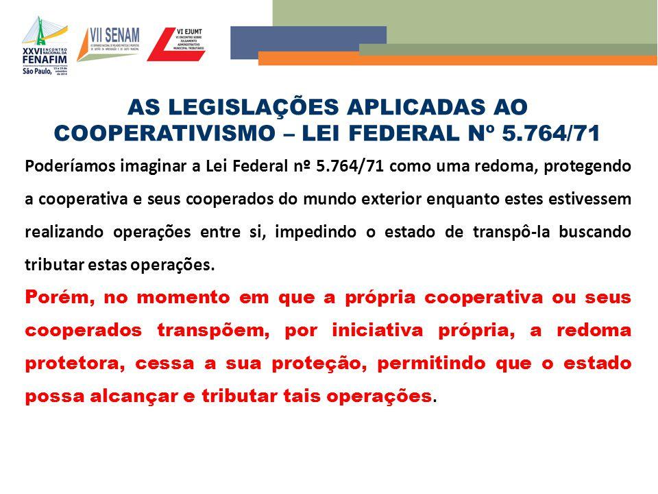 AS LEGISLAÇÕES APLICADAS AO COOPERATIVISMO – LEI FEDERAL Nº 5.764/71 Poderíamos imaginar a Lei Federal nº 5.764/71 como uma redoma, protegendo a coope