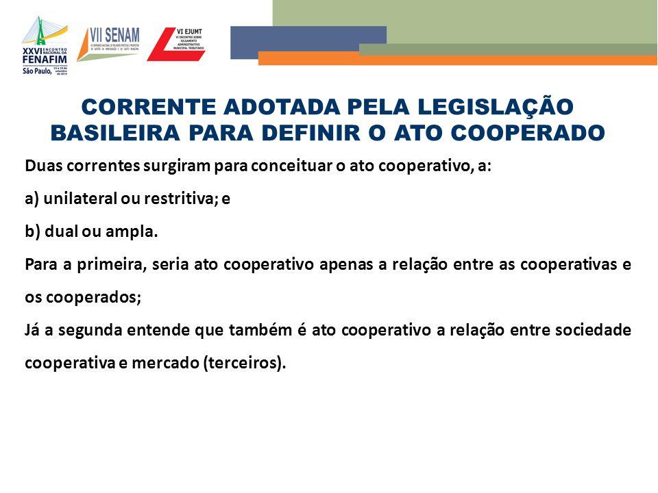 CORRENTE ADOTADA PELA LEGISLAÇÃO BASILEIRA PARA DEFINIR O ATO COOPERADO Duas correntes surgiram para conceituar o ato cooperativo, a: a) unilateral ou