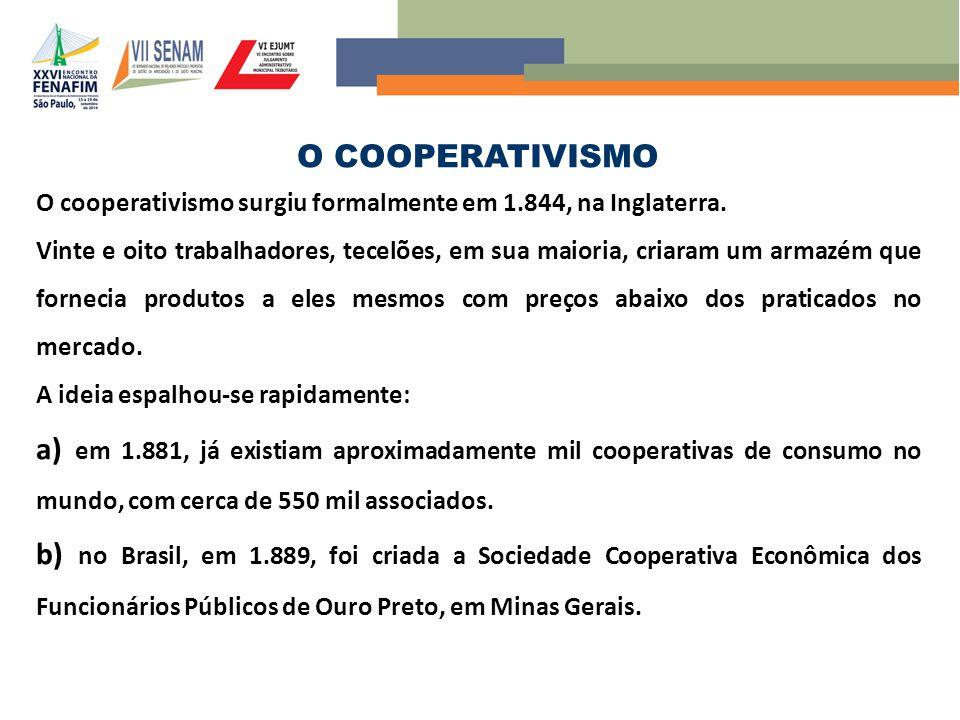 O COOPERATIVISMO O cooperativismo surgiu formalmente em 1.844, na Inglaterra. Vinte e oito trabalhadores, tecelões, em sua maioria, criaram um armazém