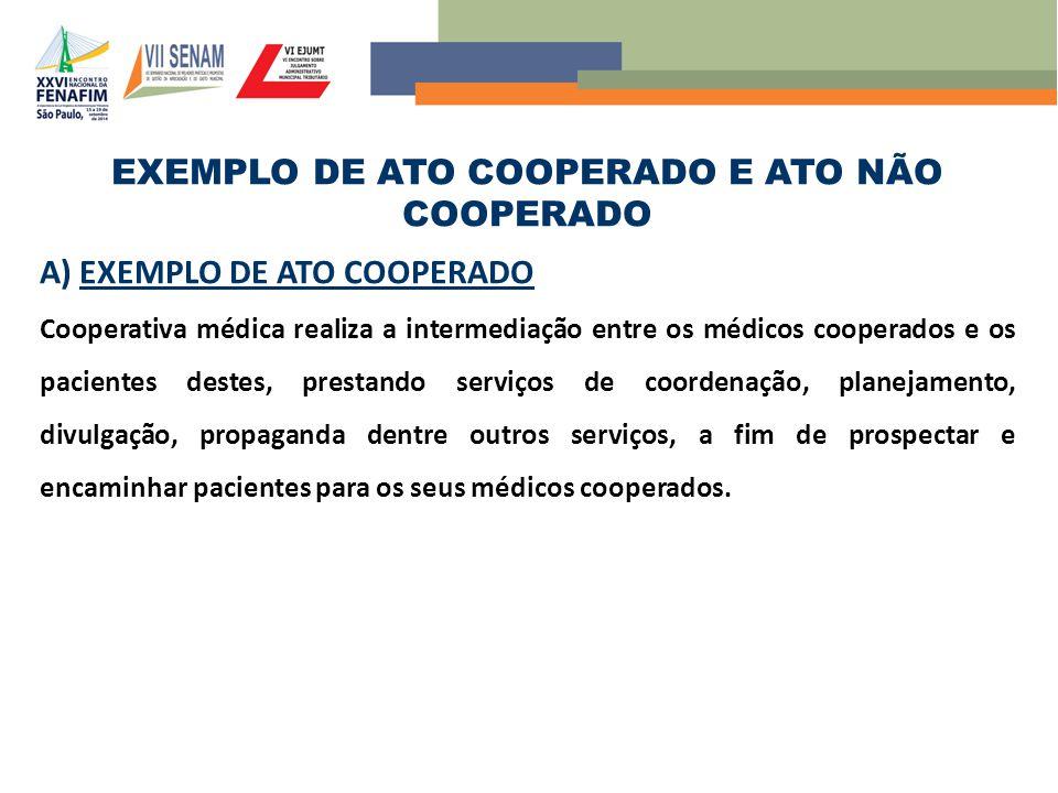 EXEMPLO DE ATO COOPERADO E ATO NÃO COOPERADO A) EXEMPLO DE ATO COOPERADO Cooperativa médica realiza a intermediação entre os médicos cooperados e os p