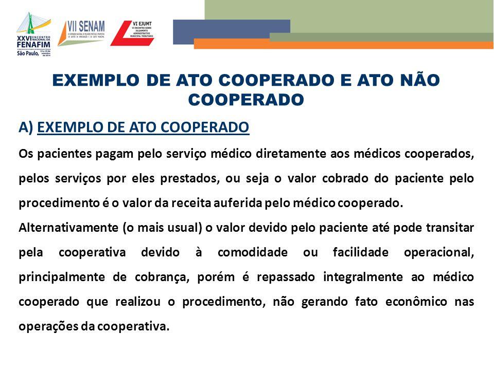 EXEMPLO DE ATO COOPERADO E ATO NÃO COOPERADO A) EXEMPLO DE ATO COOPERADO Os pacientes pagam pelo serviço médico diretamente aos médicos cooperados, pe