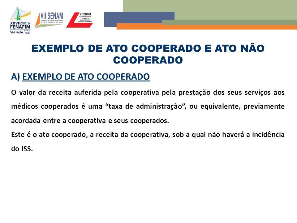 EXEMPLO DE ATO COOPERADO E ATO NÃO COOPERADO A) EXEMPLO DE ATO COOPERADO O valor da receita auferida pela cooperativa pela prestação dos seus serviços