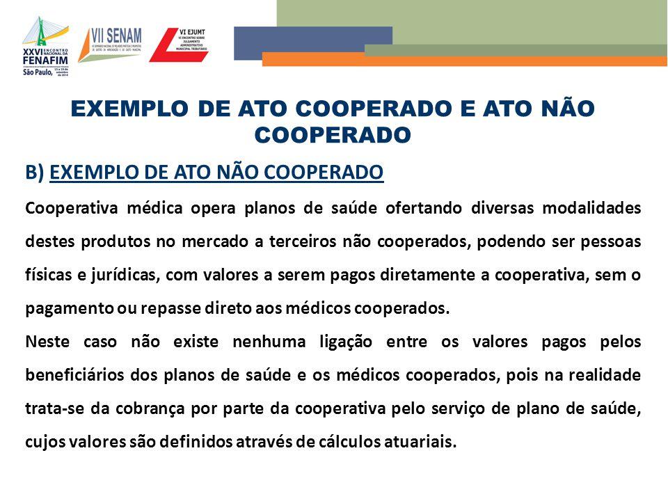 EXEMPLO DE ATO COOPERADO E ATO NÃO COOPERADO B) EXEMPLO DE ATO NÃO COOPERADO Cooperativa médica opera planos de saúde ofertando diversas modalidades d