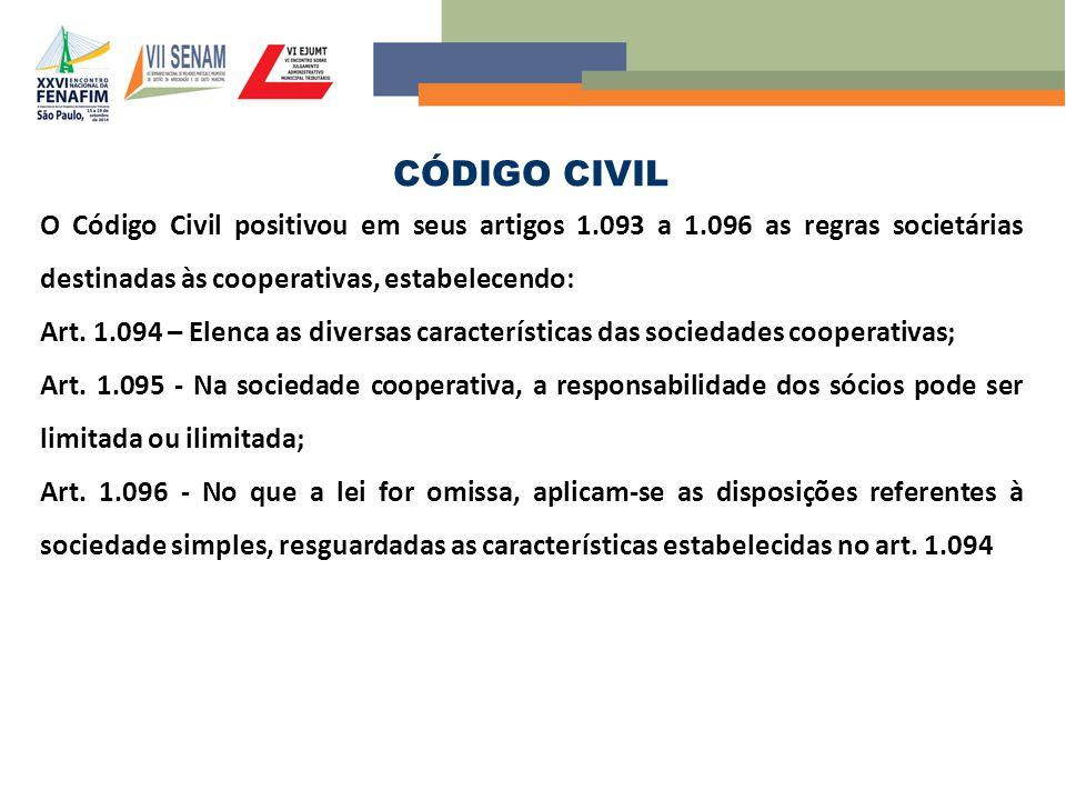 CÓDIGO CIVIL O Código Civil positivou em seus artigos 1.093 a 1.096 as regras societárias destinadas às cooperativas, estabelecendo: Art. 1.094 – Elen