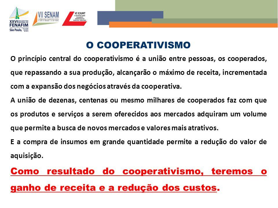 O COOPERATIVISMO O princípio central do cooperativismo é a união entre pessoas, os cooperados, que repassando a sua produção, alcançarão o máximo de receita, incrementada com a expansão dos negócios através da cooperativa.