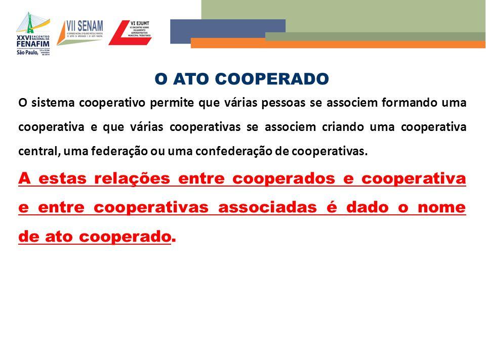 O ATO COOPERADO O sistema cooperativo permite que várias pessoas se associem formando uma cooperativa e que várias cooperativas se associem criando um