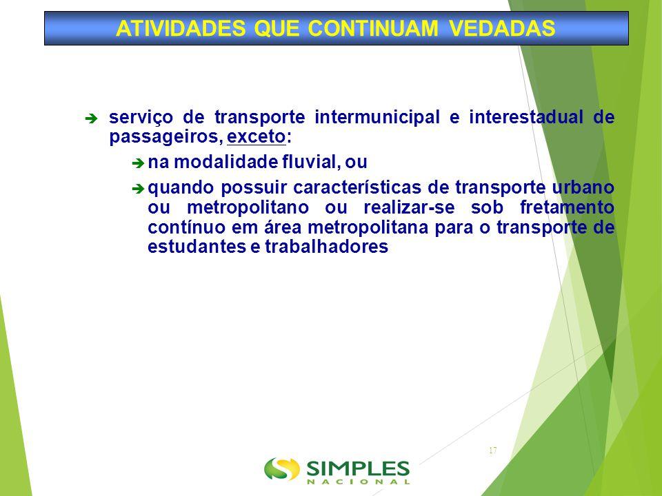  serviço de transporte intermunicipal e interestadual de passageiros, exceto:  na modalidade fluvial, ou  quando possuir características de transpo