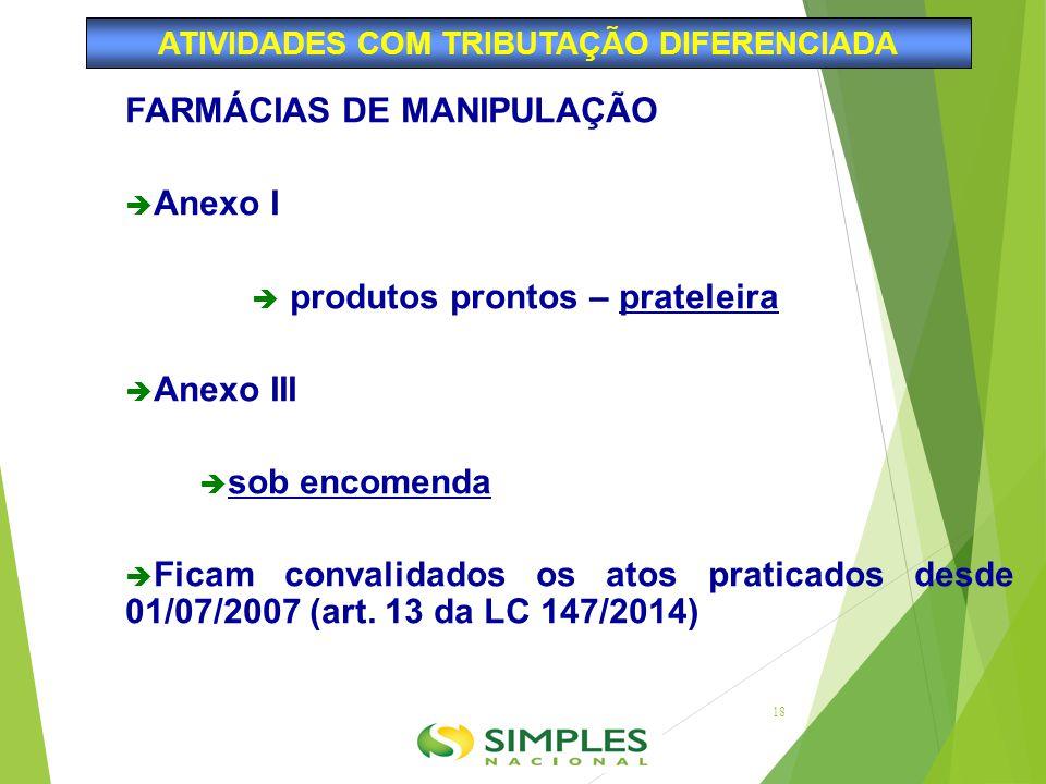 FARMÁCIAS DE MANIPULAÇÃO  Anexo I  produtos prontos – prateleira  Anexo III  sob encomenda  Ficam convalidados os atos praticados desde 01/07/200
