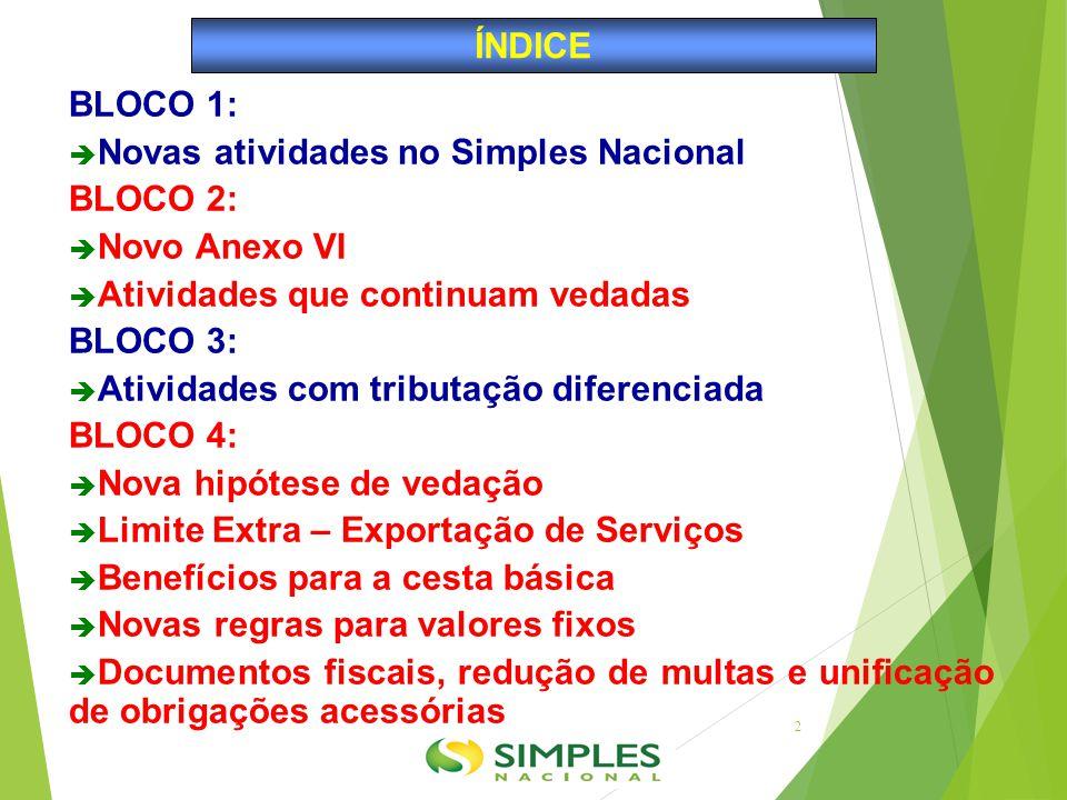 BLOCO 1:  Novas atividades no Simples Nacional BLOCO 2:  Novo Anexo VI  Atividades que continuam vedadas BLOCO 3:  Atividades com tributação difer