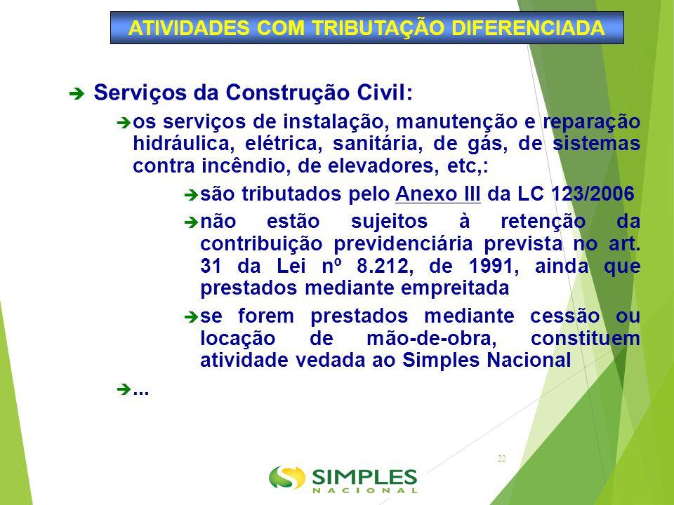  Serviços da Construção Civil:  os serviços de instalação, manutenção e reparação hidráulica, elétrica, sanitária, de gás, de sistemas contra incênd