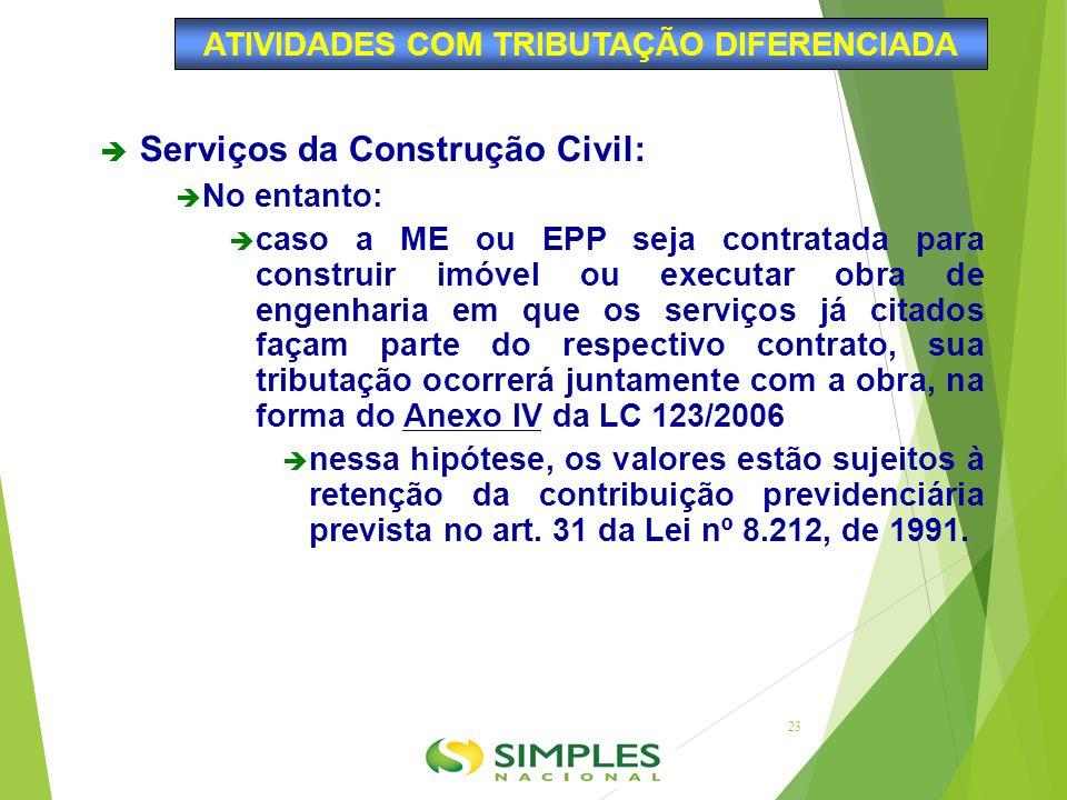  Serviços da Construção Civil:  No entanto:  caso a ME ou EPP seja contratada para construir imóvel ou executar obra de engenharia em que os serviç