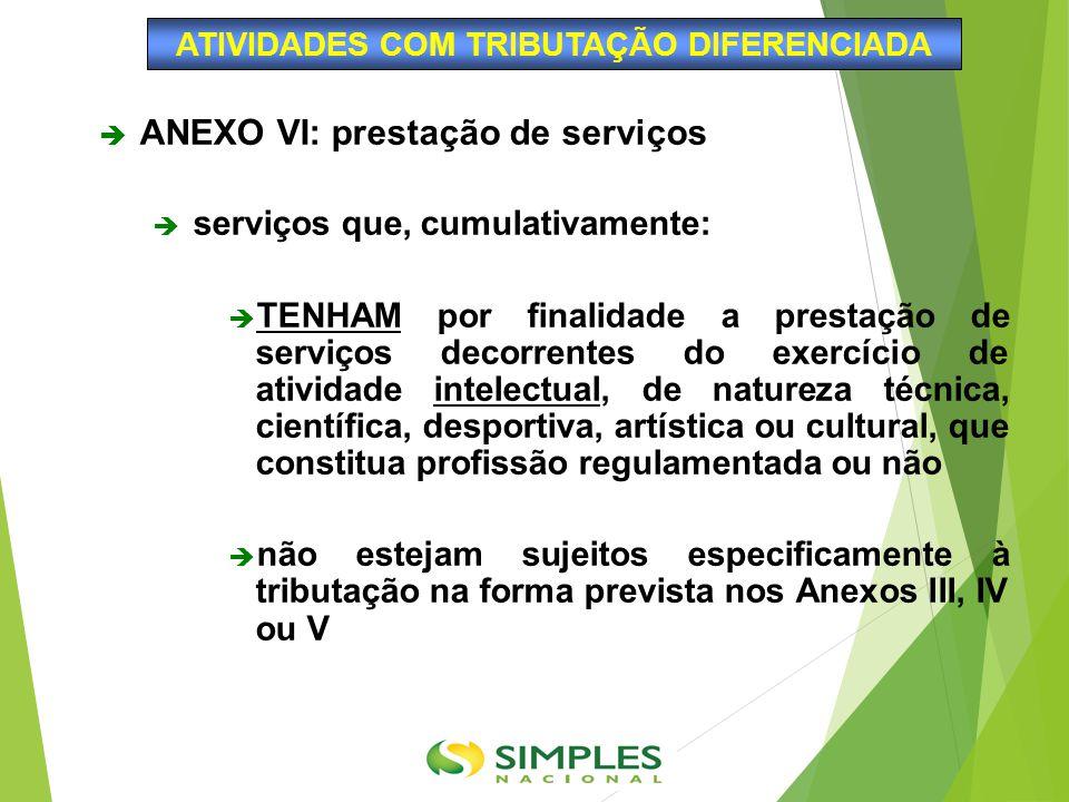  ANEXO VI: prestação de serviços  serviços que, cumulativamente:  TENHAM por finalidade a prestação de serviços decorrentes do exercício de ativida