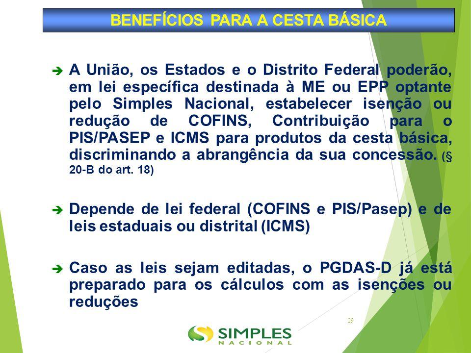  A União, os Estados e o Distrito Federal poderão, em lei específica destinada à ME ou EPP optante pelo Simples Nacional, estabelecer isenção ou redu