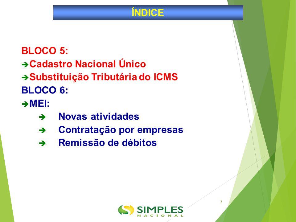 BLOCO 5:  Cadastro Nacional Único  Substituição Tributária do ICMS BLOCO 6:  MEI:  Novas atividades  Contratação por empresas  Remissão de débit