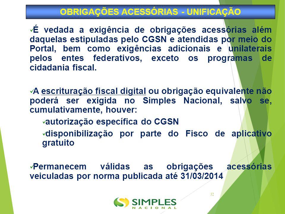 É vedada a exigência de obrigações acessórias além daquelas estipuladas pelo CGSN e atendidas por meio do Portal, bem como exigências adicionais e uni
