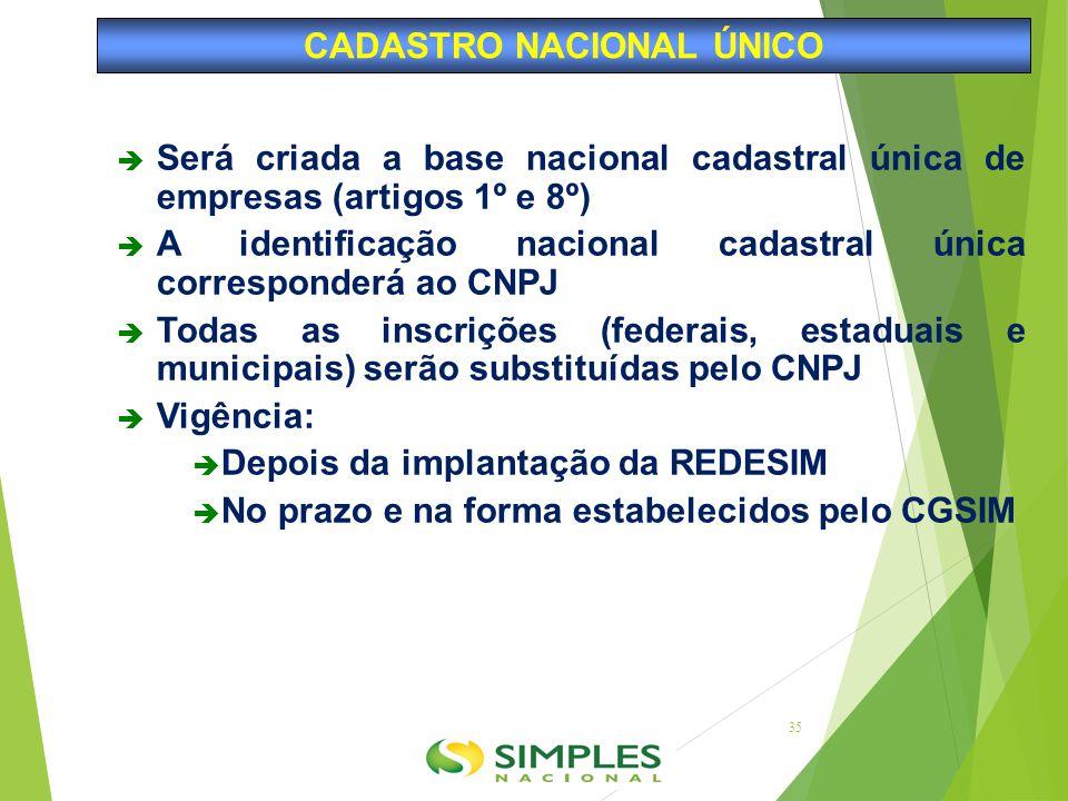  Será criada a base nacional cadastral única de empresas (artigos 1º e 8º)  A identificação nacional cadastral única corresponderá ao CNPJ  Todas a