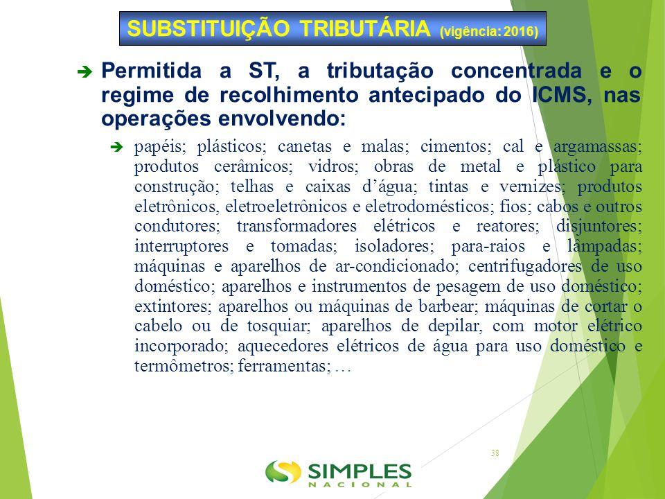  Permitida a ST, a tributação concentrada e o regime de recolhimento antecipado do ICMS, nas operações envolvendo:  papéis; plásticos; canetas e mal