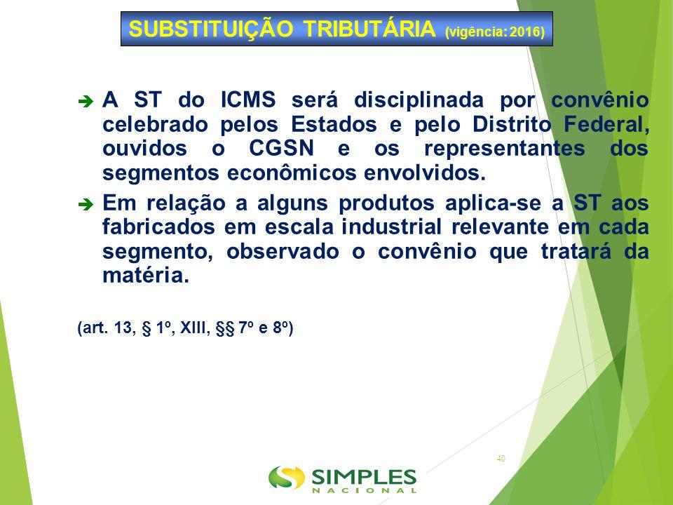  A ST do ICMS será disciplinada por convênio celebrado pelos Estados e pelo Distrito Federal, ouvidos o CGSN e os representantes dos segmentos econôm