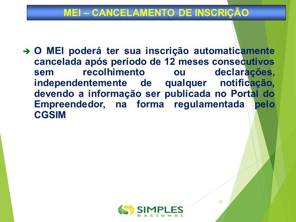  O MEI poderá ter sua inscrição automaticamente cancelada após período de 12 meses consecutivos sem recolhimento ou declarações, independentemente de