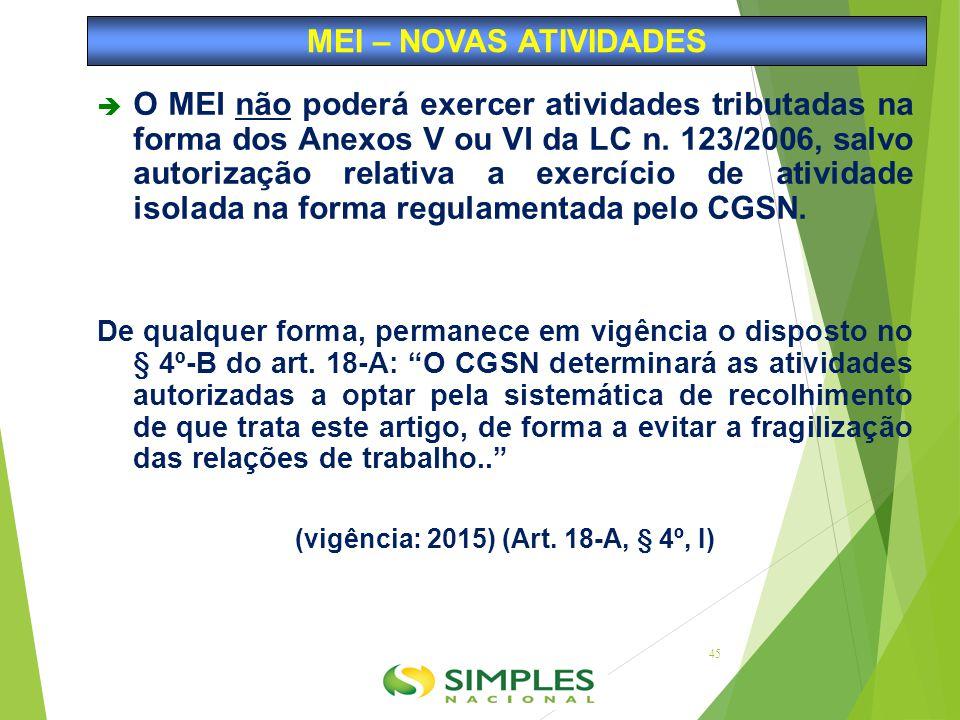  O MEI não poderá exercer atividades tributadas na forma dos Anexos V ou VI da LC n. 123/2006, salvo autorização relativa a exercício de atividade is