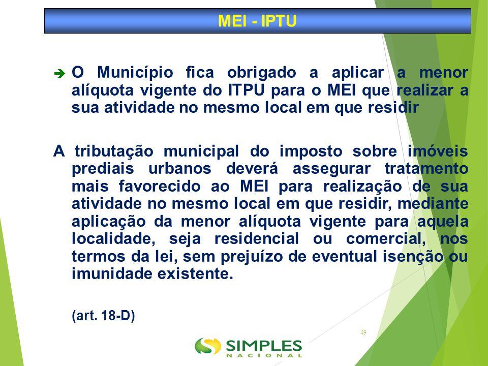  O Município fica obrigado a aplicar a menor alíquota vigente do ITPU para o MEI que realizar a sua atividade no mesmo local em que residir A tributa