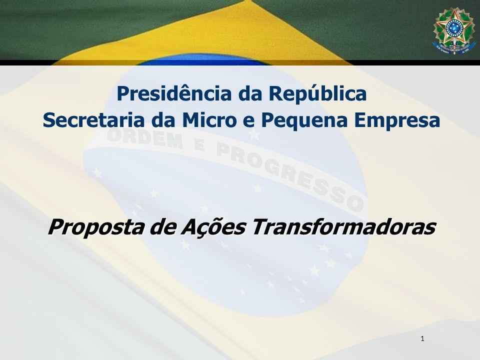 Proposta de Ações Transformadoras Presidência da República Secretaria da Micro e Pequena Empresa 1