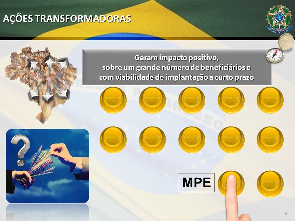 AÇÕES TRANSFORMADORAS Geram impacto positivo, sobre um grande número de beneficiários e com viabilidade de implantação a curto prazo MPE 2