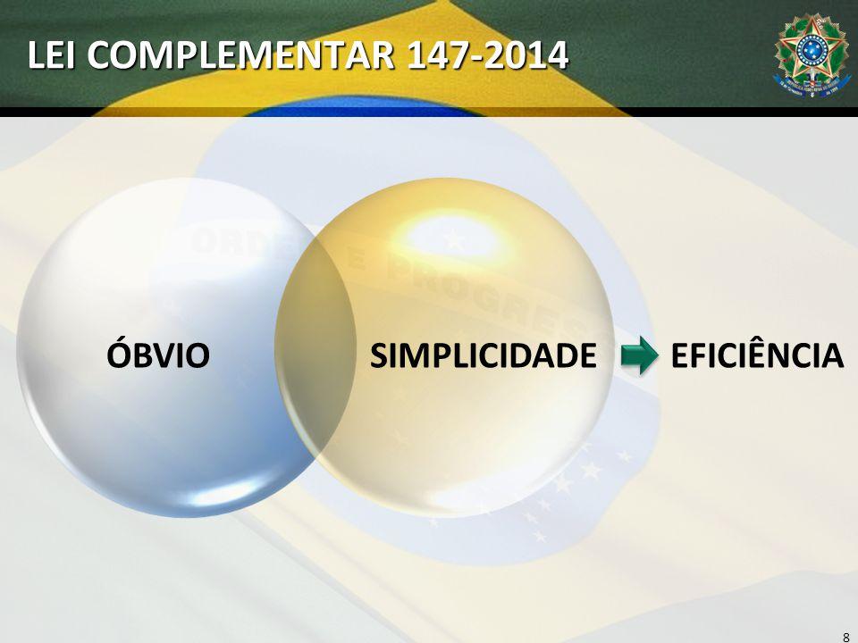LEI COMPLEMENTAR 147-2014 8 ÓBVIOSIMPLICIDADEEFICIÊNCIA