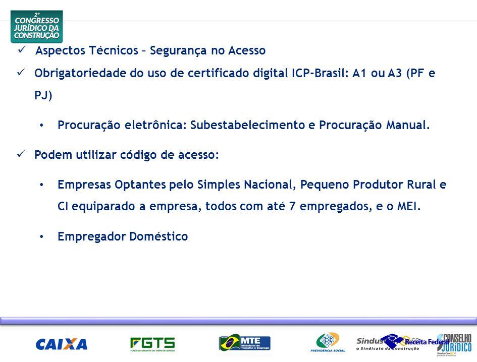 Obrigatoriedade do uso de certificado digital ICP-Brasil: A1 ou A3 (PF e PJ) Procuração eletrônica: Subestabelecimento e Procuração Manual. Podem util
