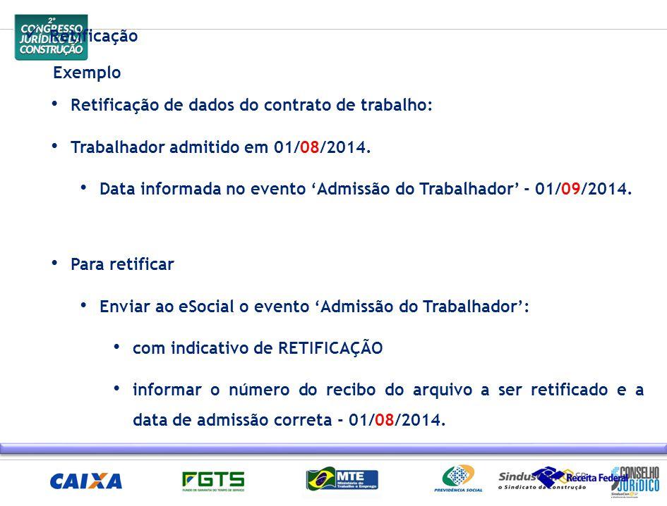 Retificação Exemplo Retificação de dados do contrato de trabalho: Trabalhador admitido em 01/08/2014. Data informada no evento 'Admissão do Trabalhado