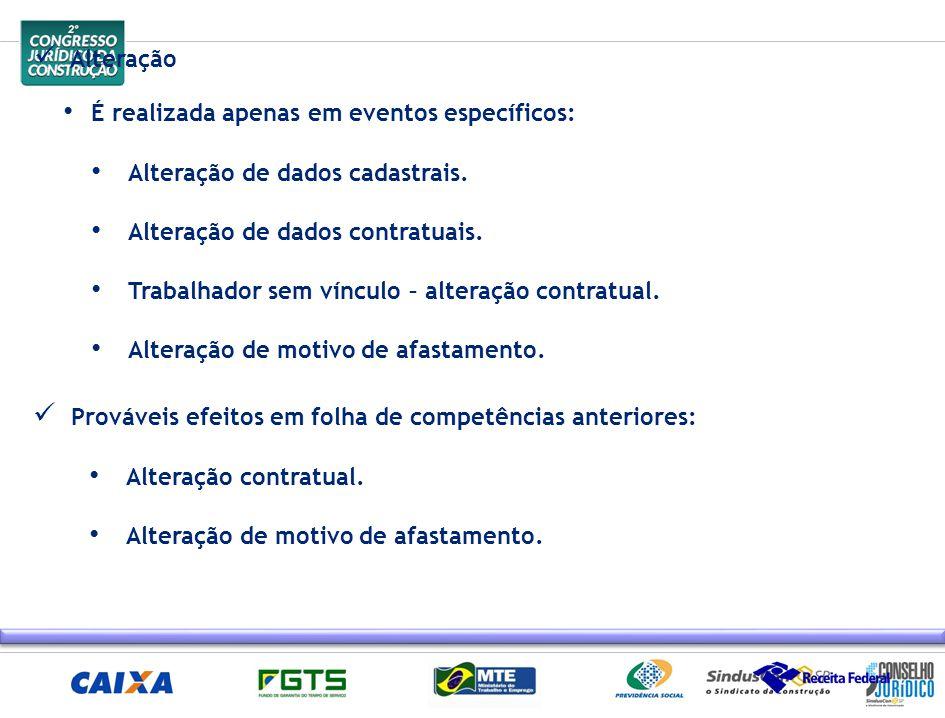 Alteração É realizada apenas em eventos específicos: Alteração de dados cadastrais. Alteração de dados contratuais. Trabalhador sem vínculo – alteraçã