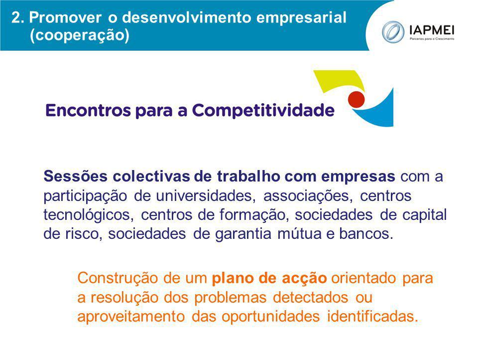 2. Promover o desenvolvimento empresarial (cooperação) Sessões colectivas de trabalho com empresas com a participação de universidades, associações, c