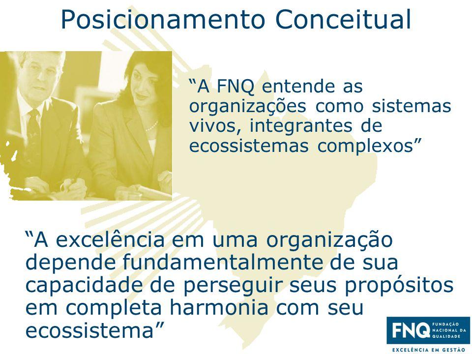 """12 Posicionamento Conceitual """"A FNQ entende as organizações como sistemas vivos, integrantes de ecossistemas complexos"""" """"A excelência em uma organizaç"""