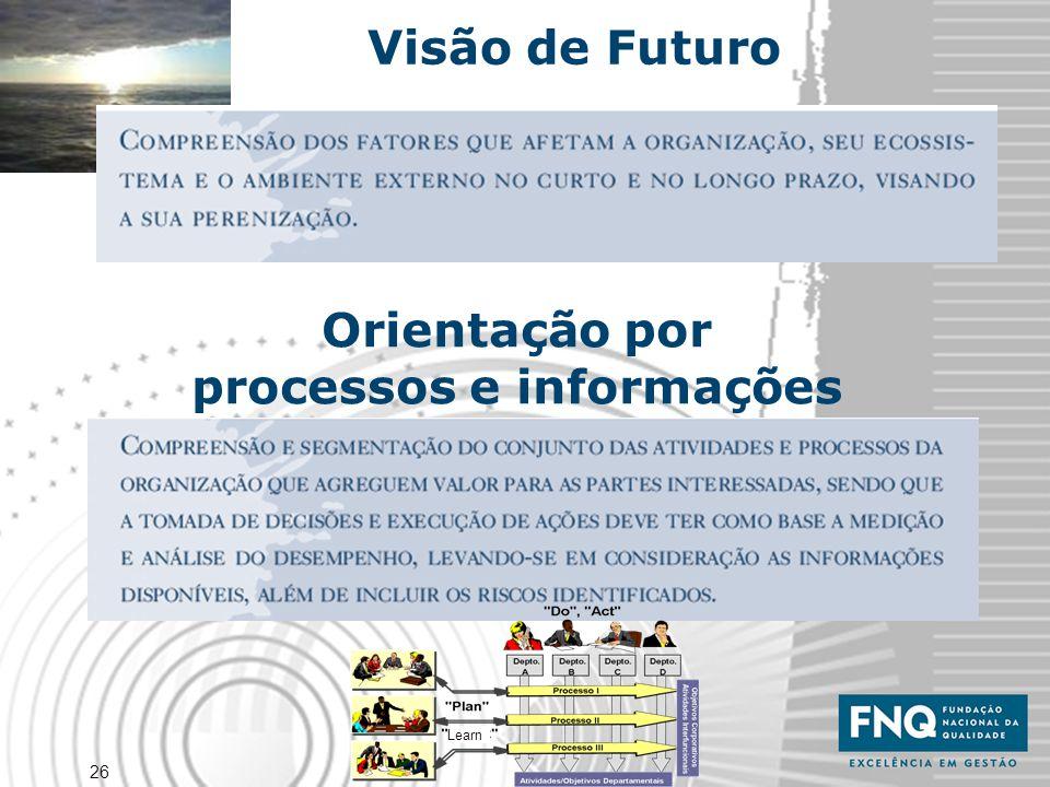26 Visão de Futuro Orientação por processos e informações Learn