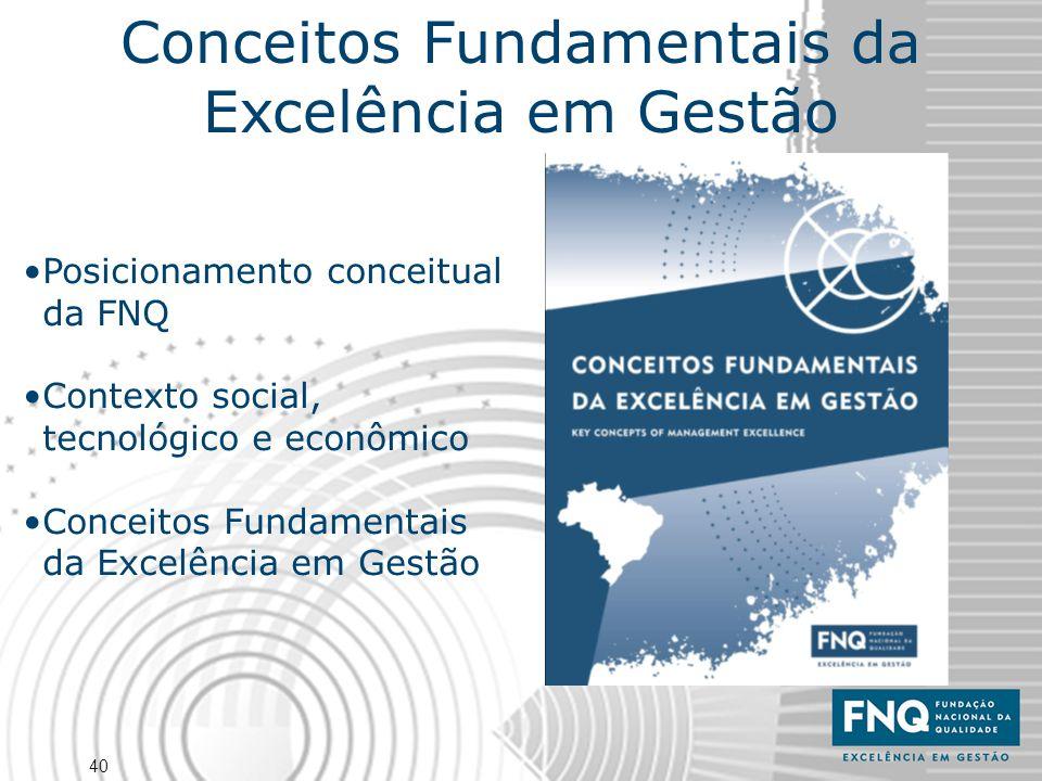 40 Posicionamento conceitual da FNQ Contexto social, tecnológico e econômico Conceitos Fundamentais da Excelência em Gestão