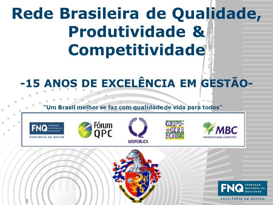 """5 Rede Brasileira de Qualidade, Produtividade & Competitividade -15 ANOS DE EXCELÊNCIA EM GESTÃO- """"Um Brasil melhor se faz com qualidade de vida para"""