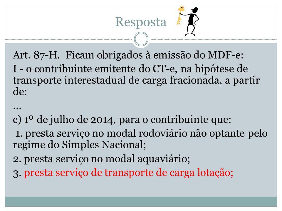 Art. 87-H. Ficam obrigados à emissão do MDF-e: I - o contribuinte emitente do CT-e, na hipótese de transporte interestadual de carga fracionada, a par