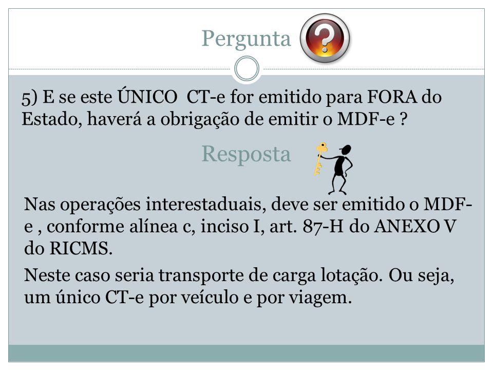 Pergunta 5) E se este ÚNICO CT-e for emitido para FORA do Estado, haverá a obrigação de emitir o MDF-e ? Resposta Nas operações interestaduais, deve s