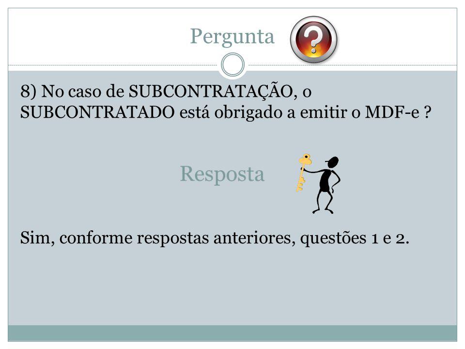 Pergunta 8) No caso de SUBCONTRATAÇÃO, o SUBCONTRATADO está obrigado a emitir o MDF-e ? Sim, conforme respostas anteriores, questões 1 e 2.